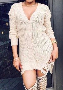 Apricot Single Breasted Irregular Cut Out V-neck Fashion Cardigan Sweater