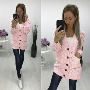 Pink Single Breasted Pockets V-neck Long Sleeve Casual Cardigan Sweater