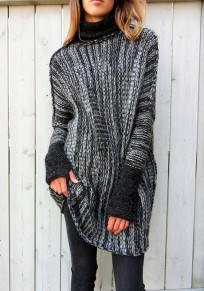 Grey Irregular High Neck Long Sleeve Pullover Sweater
