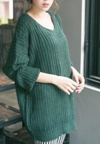 Green Oversized Knitted Batwing Sleeve Pullover Sweater Jumper
