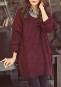 Wine Red Oversized Knitted Batwing Sleeve Batwing Sleeve Pullover Sweater Jumper