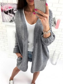 Manteau poches en tricot manches longues décontracté cardigan gris