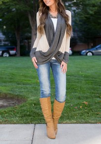 Apricot-Grey Patchwork Long Sleeve Draped Collar Casual Fall Pullover Sweater
