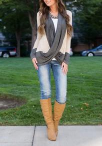 Apricot Grau Criss Cross Cardigan Langarm Beiläufige Oversize Pullover Sweatshirt Damen Günstige