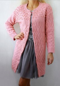 Pink Patchwork Pearl V-neck Fashion Knit Cardigan Sweater