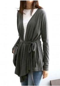 Dark Grey Sashes Irregular V-neck Long Sleeve Cardigan Sweater