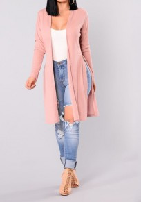 Pink Cut Out Long Sleeve Fashion Cardigan Sweater