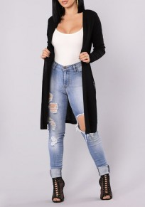 Black Cut Out Long Sleeve Fashion Cardigan Sweater