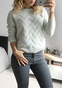 White Round Neck Long Sleeve Casual Pullover Sweater
