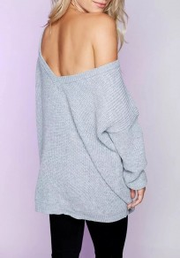 Grey Backless Knitting Deep V-neck Long Sleeve Pullover Sweater