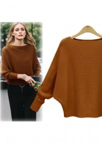 Camel Rundhals Fledermausärmel Oversize Strick Pullover Sweater Oberteile Damen Mode