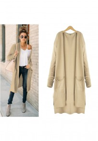 Apricot Plain Pockets Irregular Casual Cardigan Sweater