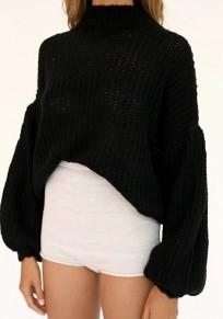 Black High Neck Lantern Sleeve Fashion Pullover Sweater