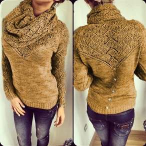 Brown Wrap 2-in-1 Round Neck Long Sleeve Casual Pullover Sweater