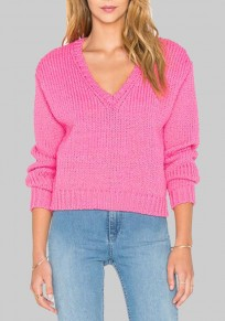 Pink V-neck Long Sleeve Oversized Knitwear Loose Pullover Sweater