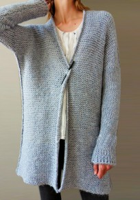 Grey V-neck Long Sleeve Cardigan Sweater