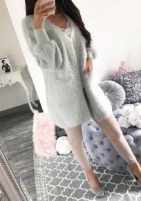Grau Taschen V-Ausschnitt Langarm Kunstfell Faux Fur Fellimitat Kunstpelz Mantel Damen Cardigan Jacke
