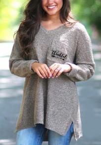 Khaki Monogram Print Irregular Pockets High-low Slit Sparkly Long Sleeve Oversized Pullover Sweater