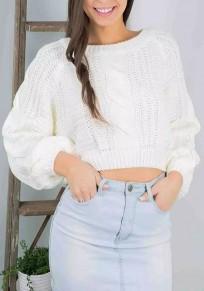 White Crop Round Neck Lantern Sleeve Knitwear Jumper Pullover Sweater