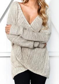 Pull en tricot irrégulière croisé décolleté manches longues décontracté femme khaki