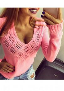 Arrêtez-vous découpes v-cou manches longues tricots rose