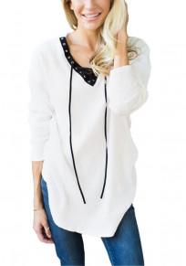 Arrêtez-vous uni drapé cordon v-cou manches longues occasionnel blanc