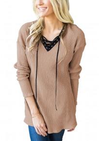Khaki Plain Draped Drawstring V-neck Long Sleeve Casual Pullover Sweater