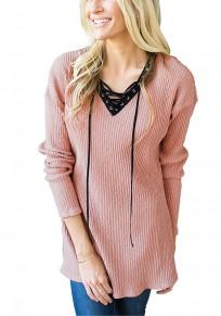 Pink Plain Draped Drawstring V-neck Long Sleeve Casual Pullover Sweater