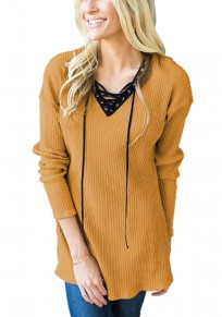 Yellow Plain Draped Drawstring V-neck Long Sleeve Casual Pullover Sweater