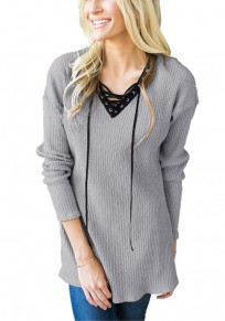 Grey Plain Draped Drawstring V-neck Long Sleeve Casual Pullover Sweater