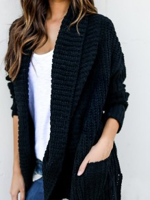 Black Plain Irregular Pockets Casual Pullover Sweater