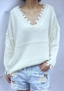 White Irregular Tassel V-neck Long Sleeve Pullover Sweater