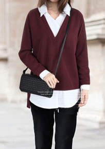 Wine Red Patchwork Irregular False 2-in-1 Turndown Collar Pullover Sweater