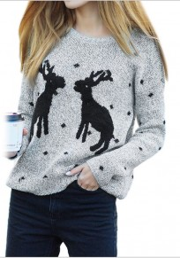 Light Grey Reindeer Print Round Neck Long Sleeve Pullover Sweater
