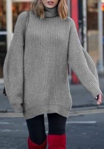 Pull long en tricot maille ample col roulé manches longues décontracté femme gris