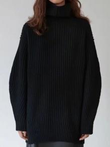 Pull long en tricot maille ample col roulé manches longues décontracté femme noir