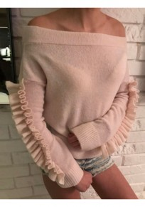 Pink Ruffle Beading Off Shoulder Backless Long Sleeve Casual Pullover Sweater