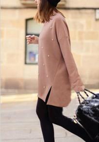Jersey abertura lateral con cuentas irregulareses cuello redondo manga larga rosa