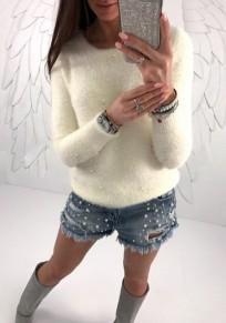 Maglione perline girocollo manica lunga moda bianco