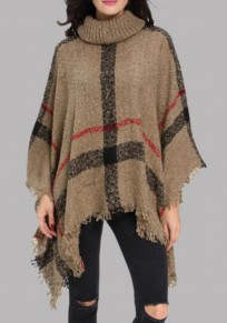 Camel Geometric Irregular Tassel High Neck Oversize Knit Pullover Sweater