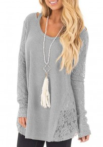 Grey Patchwork Lace Round Neck Long Sleeve Casual Pullover Sweater
