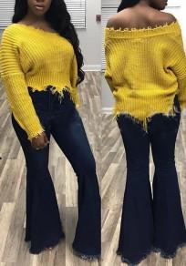 Pulóveres hombro irregulares destruido slouchy casuales manga larga amarillo