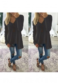 Black Plain Irregular V-neck Casual Pullover Sweater
