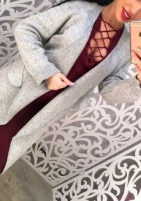 Grey Patchwork Pockets Turndown Collar Long Sleeve Cardigan Sweater