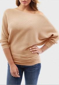 Khaki Irregular Round Neck Dolman Sleeve Long Sleeve Pullover Sweater