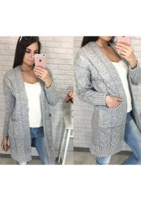 Light Grey Pockets Long Sleeve Casual Cardigan Sweater