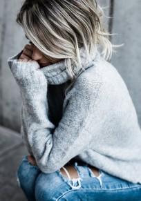 Graue Rollkragen Langarm Oversize Dicke Strickpullover Damenpulli Knit Sweater