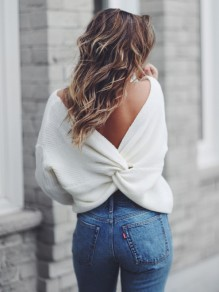 White Cross Back Backless Deep V-neck Fashion Knitwear Jumper Pullover  Sweater cf447e59c
