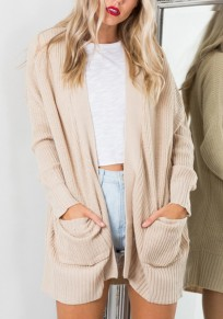 Apricot Pockets Long Sleeve Casual Knit Cardigan Sweater