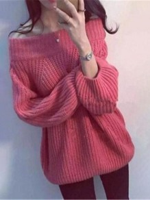 Red Off Shoulder Long Sleeve Knitwear Pullover Sweater